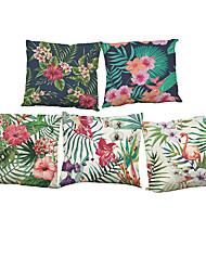Set of 5 Flamingo Tropical Plants pattern  Linen Pillow Case Bedroom Euro Pillow Covers 18x18 inches  Cushion cover