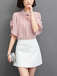 Women's Flare Sleeve Plus Size Work Street chic Spring /Fall Loose Blouse Print Bow V Neck Long Sleeve Pink Polyester Medium