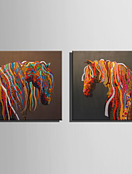 cheap -E-HOME Stretched Canvas Art Colorful Abstract Horse Decoration Painting One Pcs