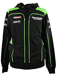 Kawasaki Motorsport Racing Hoodie Jacket Black/Green Color Mens Biker Sweatshirt