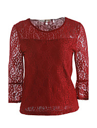 Women's Lace Casual/Daily Sexy Spring Blouse,Solid Round Neck ¾ Sleeve Red / White / Black / Green Nylon / Spandex Translucent