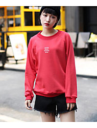 2017 new spring loose Harajuku style printing hedging sweater female long-sleeved round neck casual red gold