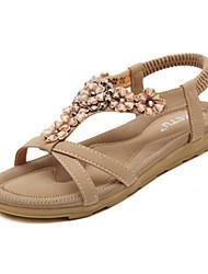 abordables -Femme Chaussures Polyuréthane Printemps / Eté Confort / Nouveauté Sandales Marche Talon Plat Elastique Noir / Rose / Amande