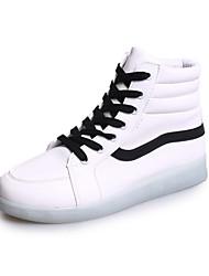 Damen Stiefel Komfort Leuchtende LED-Schuhe PU Frühling Sommer Normal Komfort Leuchtende LED-Schuhe Flacher Absatz Weiß Schwarz Flach