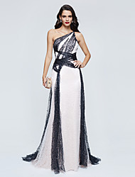 cheap -A-Line One Shoulder Sweep / Brush Train Sequined Formal Evening Dress with Sequin Pleats by TS Couture®