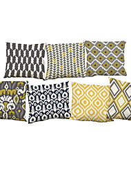 cheap -Set of 7 Creative geometric patterns Linen  Cushion Cover Home Office Sofa Square  Pillow Case Decorative Cushion Covers Pillowcases