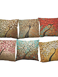 cheap -6 pcs Linen Pillow Case Pillow Cover, Solid Geometric Textured Beach Style Bolster Traditional/Classic