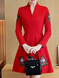 Trapèze Robe Femme Décontracté / Quotidien Soirée / Cocktail Grandes Tailles simple Mignon Chinoiserie,Broderie Coeur Au dessus du genou