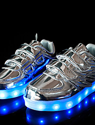 cheap -Sneakers Spring Summer Fall Winter Comfort Novelty Tulle PU Outdoor Casual Athletic Flat Heel Lace-up LED Gold Silver Pink Walking