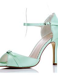 Da donna-Tacchi-Matrimonio Formale Serata e festaA stiletto-Raso-Verde Chiaro