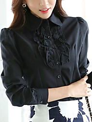 Недорогие -Для женщин На каждый день Офис Весна Осень Рубашка Рубашечный воротник,Простое Уличный стиль Однотонный Длинный рукав,Полиэстер,Средняя