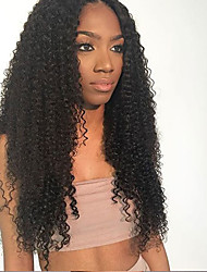 cheap -Natural Black Color Kinky Curly Brazilian Human Hair Lace Front Virgin Human Hair Wig With Baby Hair For Black Woman Medium Brown Lace Cap Wholesale