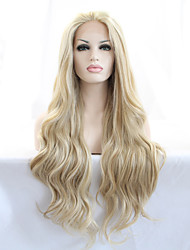 cheap -Sylvia Synthetic Lace front Wig Blonde Heat Resistant Long Natural Look Wavy Synthetic Wigs