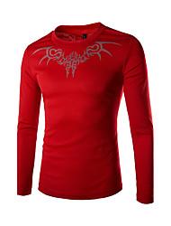 Χαμηλού Κόστους Νέες Αφίξεις-Ανδρικά T-shirt Αθλητικά Μπόχο - Μονόχρωμο Στρογγυλή Λαιμόκοψη Στάμπα Βαμβάκι