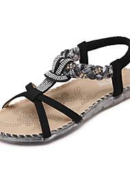 preiswerte -Damen Schuhe PU Frühling / Sommer Leuchtende Sohlen / Komfort Sandalen Walking Flacher Absatz Runde Zehe Strass / Elastisch / Geflochtene