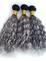 cheap -3pcs/lot Brazilian Ombre Grey Natural Wave Curly Hair Weft Dark Root Grey Human Hair Bundles