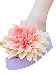 Women's Slippers & Flip-Flops PU Summer Casual Outdoor Flower Flat Heel White Black Purple Blue Blushing Pink 2in-2 3/4in