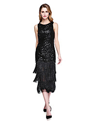 cheap -Sheath / Column Jewel Neck Tea Length Sequined Mother of the Bride Dress with Sequins Tassel(s) by LAN TING BRIDE®