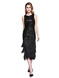 Tubinho Decorado com Bijuteria Longuette Paetês Vestido Para Mãe dos Noivos - Lantejoulas Franja(s) de LAN TING BRIDE®