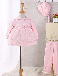 cheap -Baby Children's Casual/Daily Solid Clothing Set, Cashmere Nylon Winter Spring Fall Bow Lace Long Sleeves Blushing Pink