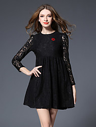 Women's Beach Holiday Simple Street chic A Line Dress,Solid Lace V Neck Above Knee ¾ Sleeve Cotton Black Spring Fall High Rise