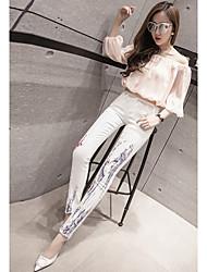 assinar 2017 primavera nova impressão de moda jeans slim pés calças lápis eram mulheres magras