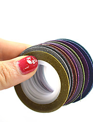 1set 1mm 12rolls Mixed Colors Glitter Sparkling Nail Art Foil Stripping Tape Nail Art DIY Manicure Tips