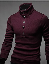 Herren Standard Strickjacke-Lässig/Alltäglich Einfach Solide Rot Schwarz Grau Ständer Langarm Baumwolle Polyester Frühling Herbst Mittel