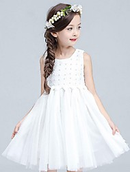 Ball Gown Knee Length Flower Girl Dress - Organza Sleeveless Jewel Neck with Beading by YDN