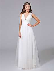 cheap -A-Line Plunging Neckline Sweep / Brush Train Lace Tulle Wedding Dress with Lace Button by LAN TING BRIDE®