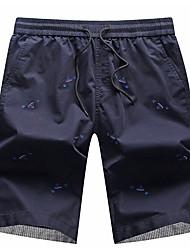 Hombre Casual Tiro Medio Microelástico Corte Recto Chinos Pantalones,Estampado Algodón Verano