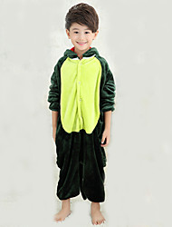 cheap -Kigurumi Pajamas with Slippers Dinosaur Onesie Pajamas Costume Coral fleece Green Cosplay For Kid's Animal Sleepwear Cartoon Halloween