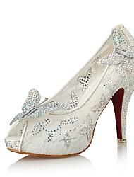 Da donna-Sandali-Matrimonio Formale Serata e festa-Innovativo Club Shoes-A stiletto-Sintetico Lustrini Tulle Microfibra-Bianco