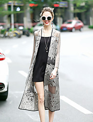 REVIENNE BAY Women's Going out Cute Street chic Spring Summer Cloak/Capes,Solid Shawl Lapel Long Sleeve Long Silk
