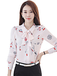 Women's Shirt Collar Plus Size Work Cute Floral Print Bow Blouse Long Sleeve OL Shirt