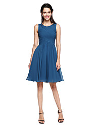 cheap -A-Line Jewel Neck Knee Length Chiffon Bridesmaid Dress with Criss Cross by LAN TING BRIDE®