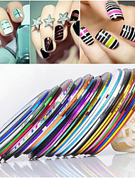 24PCS Mixs Farbe Striping Tape-Streifen Tape-Linie Nagel Nail Art Deko-Sticker