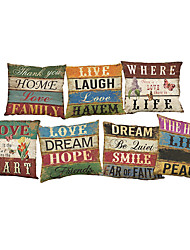 Set of 7 Retro English letters  Linen  Cushion Cover Home Office Sofa Square  Pillow Case Decorative Cushion Covers Pillowcases