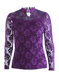 Women's Lace Plus Size Street chic All Seasons Lace ShirtSolid Round Neck Long Sleeve Blue Pink White Silk Medium Tops