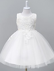 cheap -Ball Gown Knee Length Flower Girl Dress - Organza Sleeveless Jewel Neck with Lace by YDN