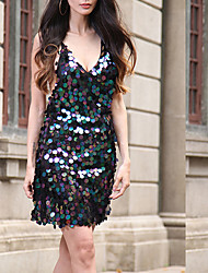 Women's Sequin Casual/Daily Sexy Cute Sheath Dress,Solid Sequins V Neck Above Knee Sleeveless Polyester Blue Black Gold Silver Spring SummerHigh