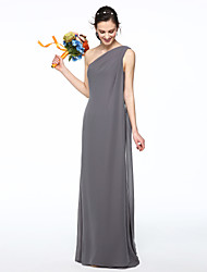 cheap -Sheath / Column One Shoulder Floor Length Chiffon Bridesmaid Dress with Pleats by LAN TING BRIDE®