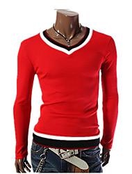 Bomull Spandex Rød Hvit Sort Langermet,V-hals T-skjorte Fargeblokk Alle sesonger Enkel Gatemote Punk & GotiskUt på byen Fritid/hverdag