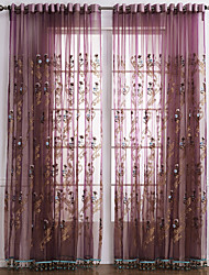 cheap -Rod Pocket Grommet Top Tab Top Double Pleat Two Panels Curtain Neoclassical, Embroidery Bedroom Polyester Material Sheer Curtains Shades