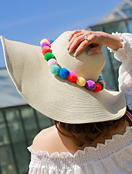 Women's Fashion Wide Large Brim Floppy Hat Straw Hat Sun Hat Beach Cap Rainbow Ball Casual Holiday Summer