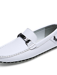 Men's Shoes Cowhide Summer Fall Moccasin Driving Shoes Loafers & Slip-Ons Walking Shoes For Casual Office & Career White Black Blue