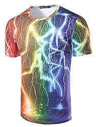Men's Sports Beach Club Holiday Casual/Daily Simple Boho T-shirt,Print Rainbow Round Neck Short Sleeve Cotton