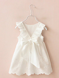 Girl's Going out Solid Dress,Cotton Summer Sleeveless Bow White