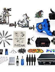 baratos -BaseKey Máquina de tatuagem Kit de tatuagem profissional - 3 pcs máquinas de tatuagem Fonte de Alimentação LED Capa Inclusa 2xMáquina Tatuagem de aço para linhas e sombras / 1xMáquina Tatuagem