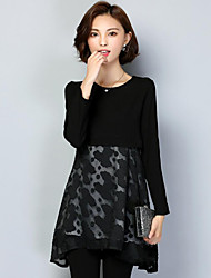 Women's Plus Size Casual/Daily Street chic Spring Summer Blouse,Print Round Neck Long Sleeve Black Polyester Medium